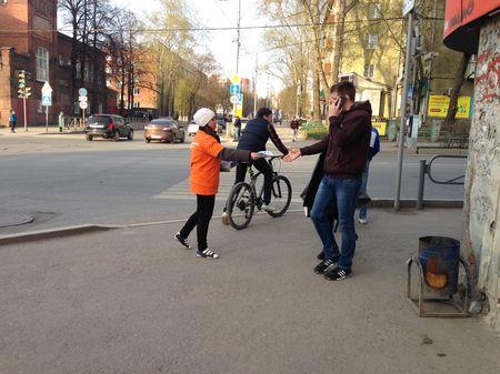 Раздача листовок в Перми